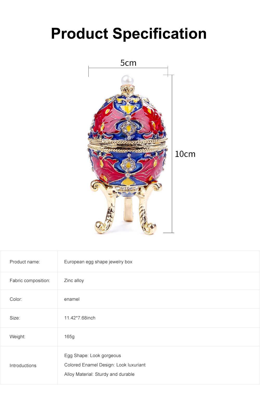 European Egg Shape Jewelry Box, Luxuriant Colored Enamel Trinket Keepsake Storage Box Collection Holder 6