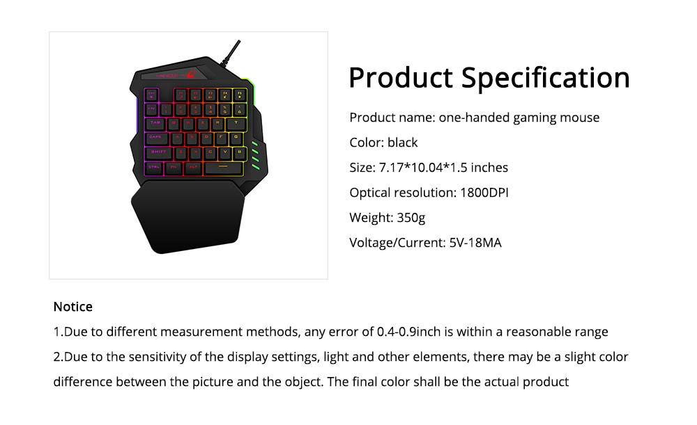 One-Handed Gaming Keyboard, K13 Wired 35 Keys LED Backlit USB Ergonomic Single Hand Keypad 6