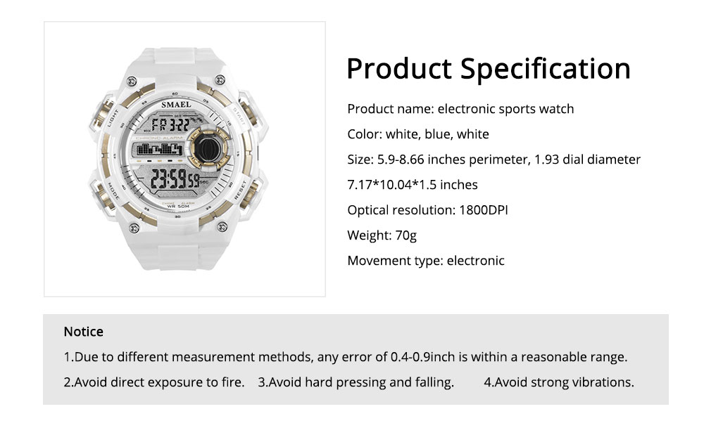 Outdoor Sports Watch, Waterproof Shockproof Stainless Steel Single Display Electronic Watches for Student Boy Men 6