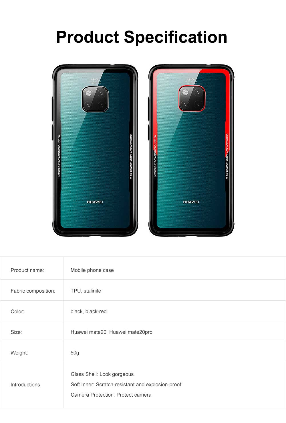 Huawei mate 20 Case with Soft TPU and Toughened Glass, Scratch-resistant and Explosion-proof, Huawei mate 20 Pro Glass Phone Case 7