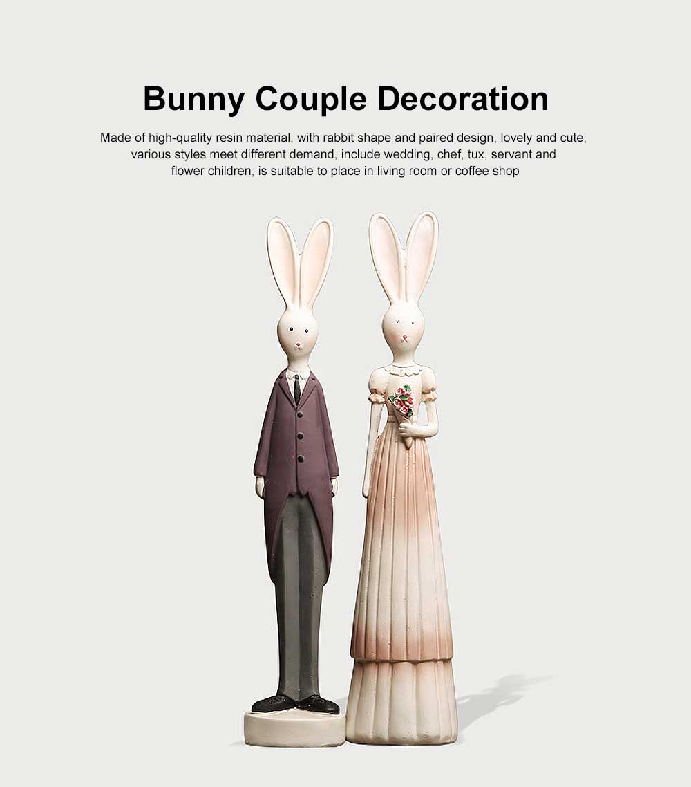 Resin Bunny Couple Decorations, Creative Easter Gifts for Kids 0
