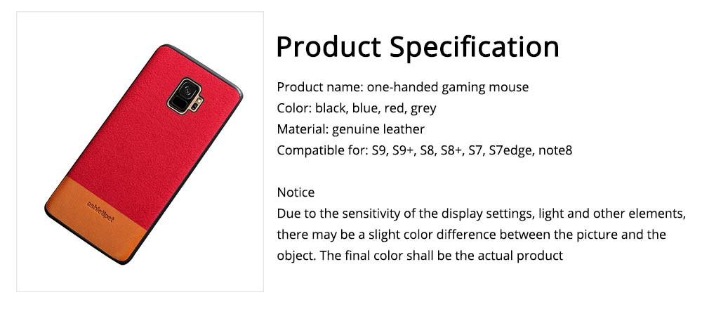 Samsung Genuine Leather Case, Creative Color Matching Elegant Phone Protective Case for Samsung note8, S7 edge, S9 13