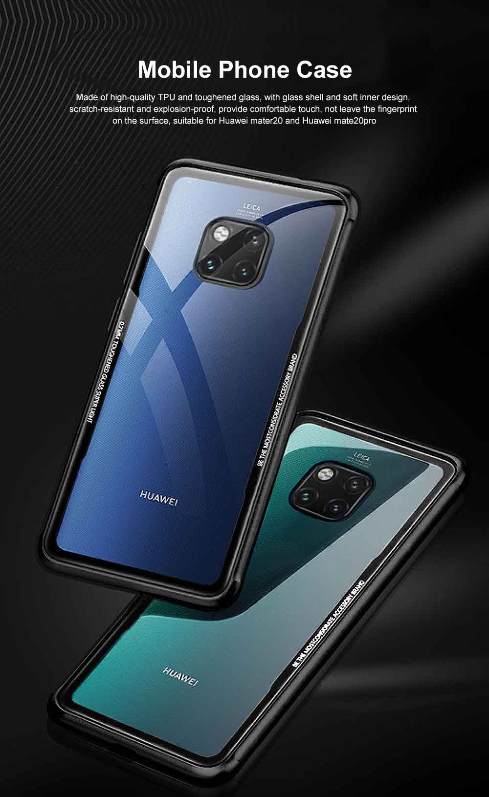 Huawei mate 20 Case with Soft TPU and Toughened Glass, Scratch-resistant and Explosion-proof, Huawei mate 20 Pro Glass Phone Case 0
