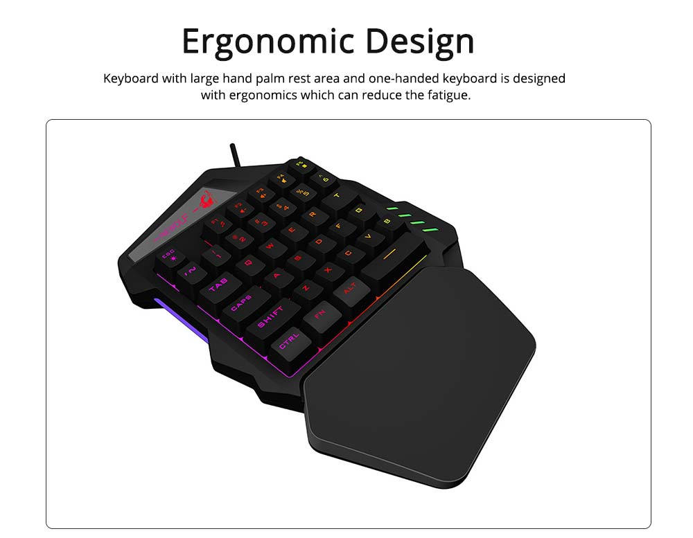 One-Handed Gaming Keyboard, K13 Wired 35 Keys LED Backlit USB Ergonomic Single Hand Keypad 1