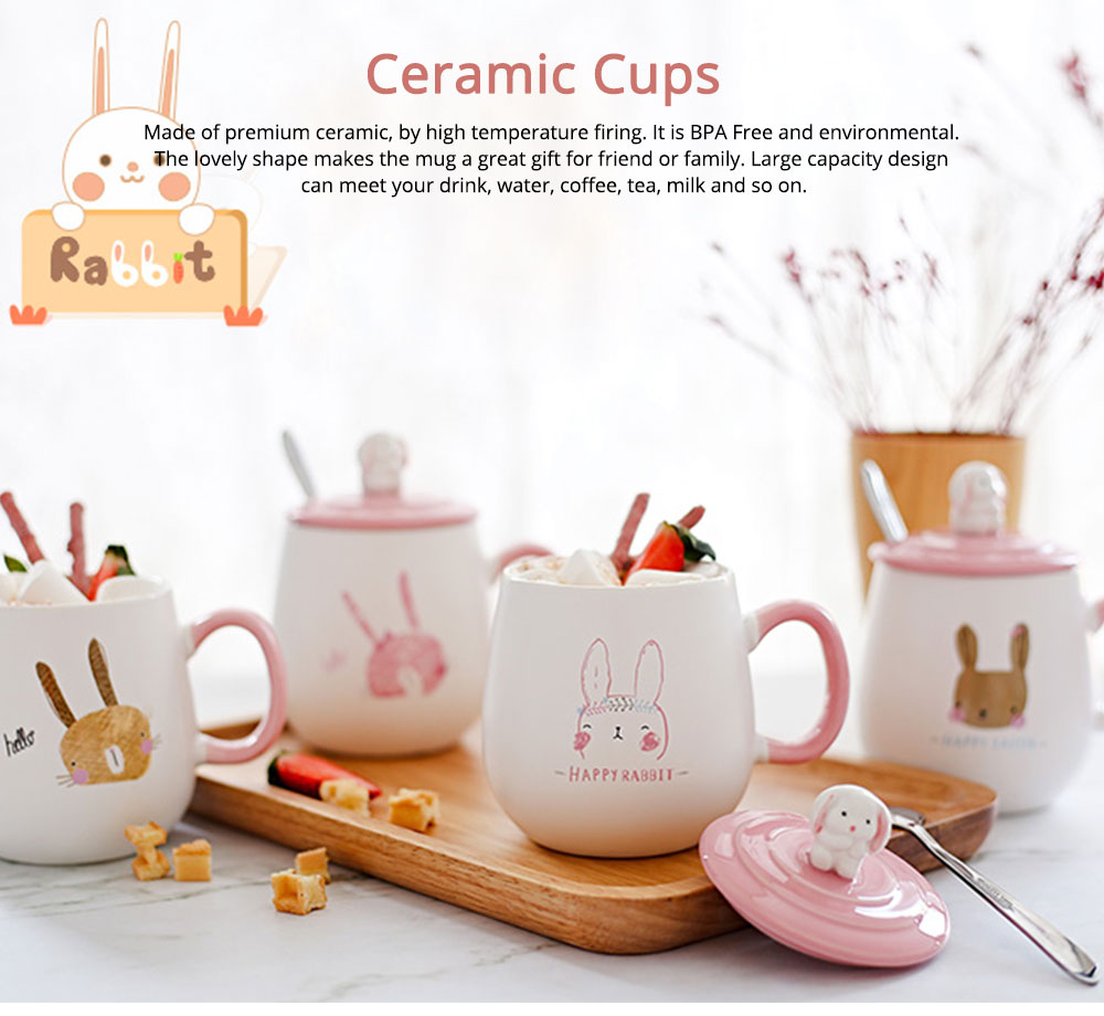 Ceramic Cups Lovely Mug Korean Style Couples Mug Lovely Breakfast Milk Cup Of Coffee Cups Porcelain Teacups Water Bowl With Cover And Spoon 0