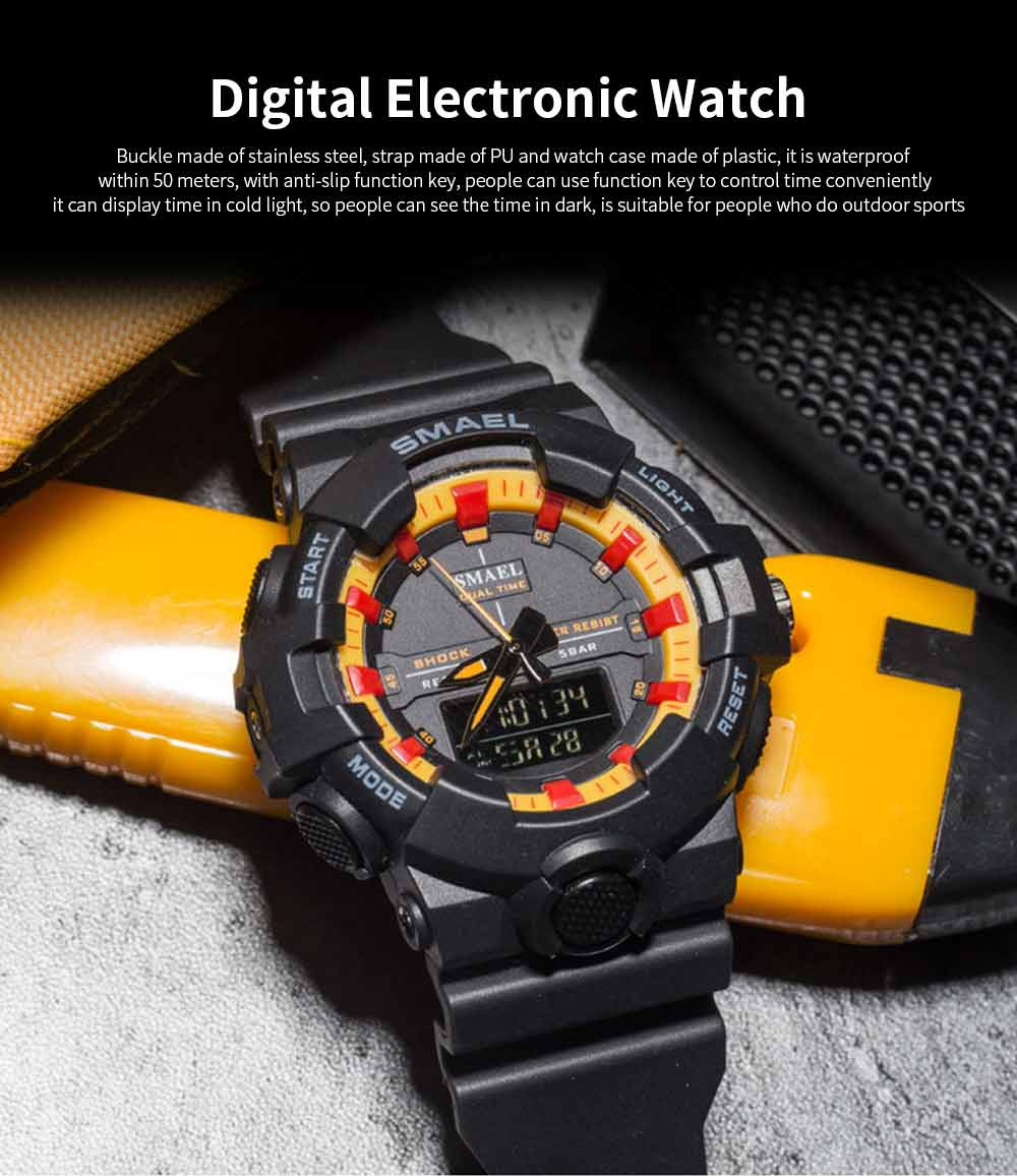 Outdoor Electronic Sports Watch, Multi-function Water Resistant Digital Quartz Wrist Watch 0