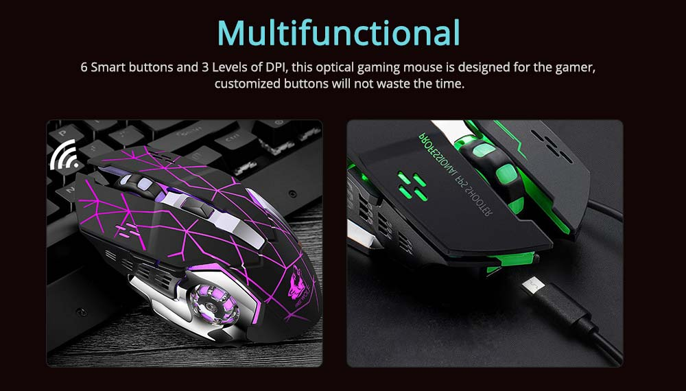 X8 Rechargeable Wireless Gaming Mouse Mice, Silent Click Cordless Mouse with 6 Smart Buttons, 2.4GHZ 3