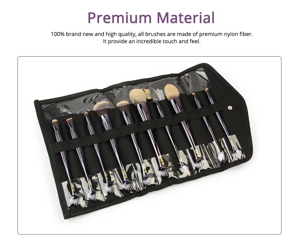 Shell Makeup Brush Set 10 Pieces, Make Up Foundation Eyebrow Eyeliner Blush Cosmetic Concealer Brushes with Nylon Crease Kit 1