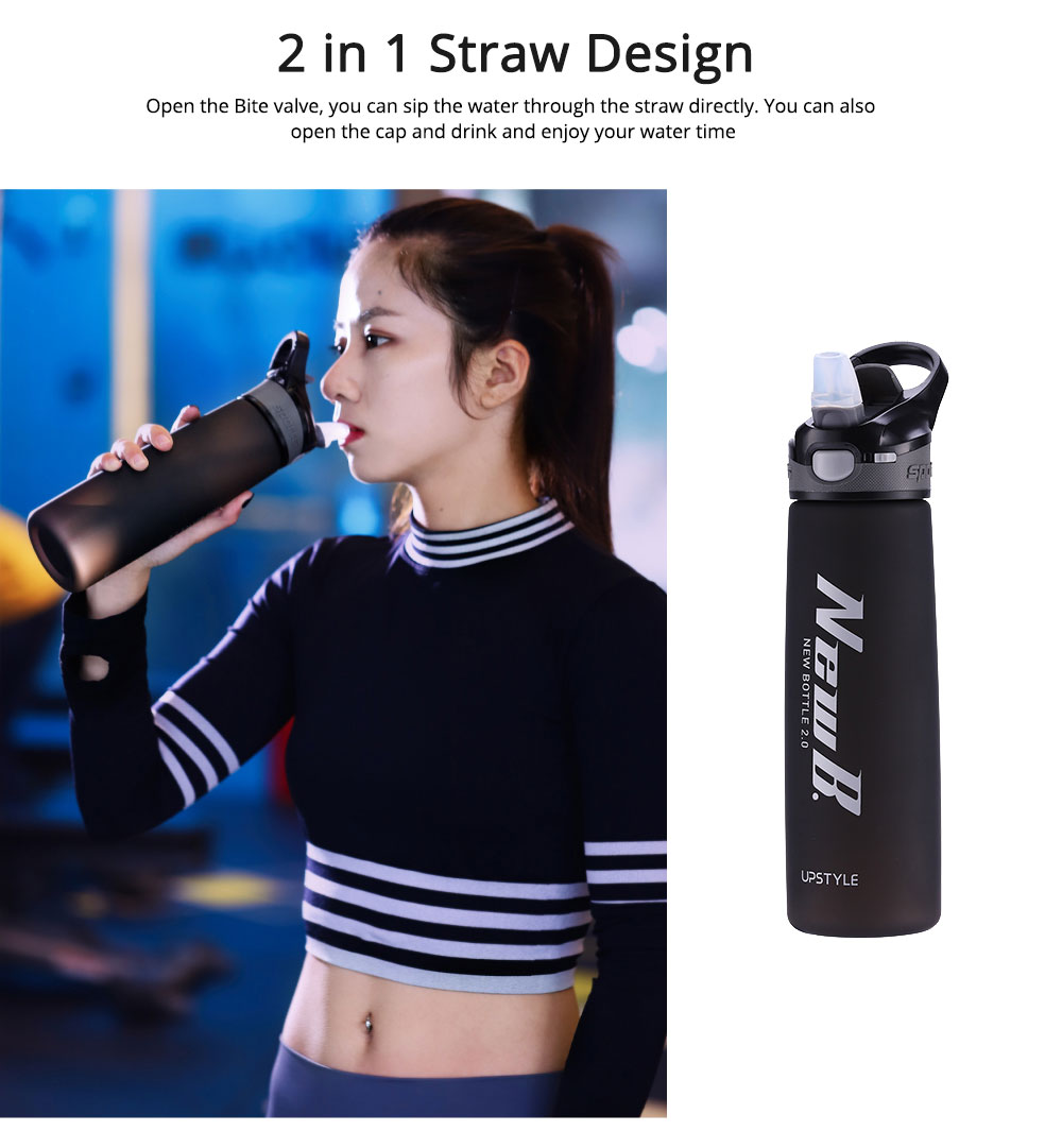 Water Bottle With Straw and Handle, Plastic Sport Water Bottle for Man Woman, 600ml, 750ml 2