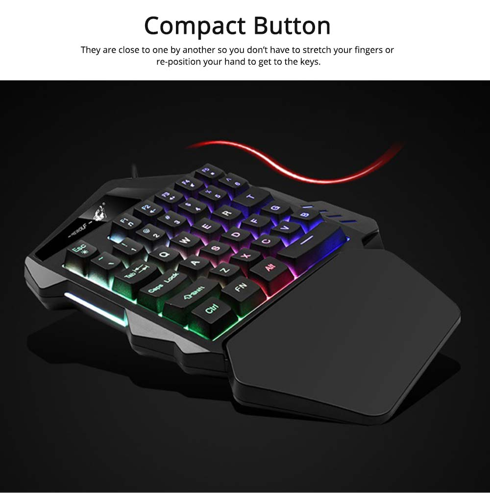 One-Handed Gaming Keyboard, K13 Wired 35 Keys LED Backlit USB Ergonomic Single Hand Keypad 2