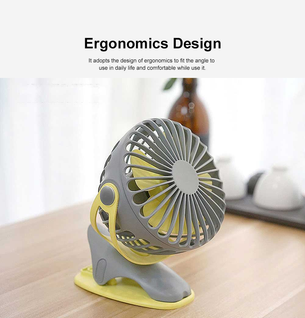 USB Rechargeable Desk Fan, Portable USB Fan with ABS and Silicone Material, Convenient Clip Design 1