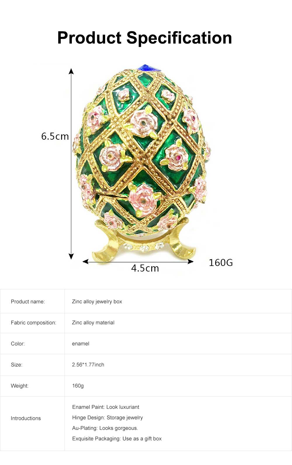 Zinc Alloy Jewelry Box with Egg Shape, Luxuriant Birthday Gift Box with Rich Enamel and Sparkling Rhinestones 6