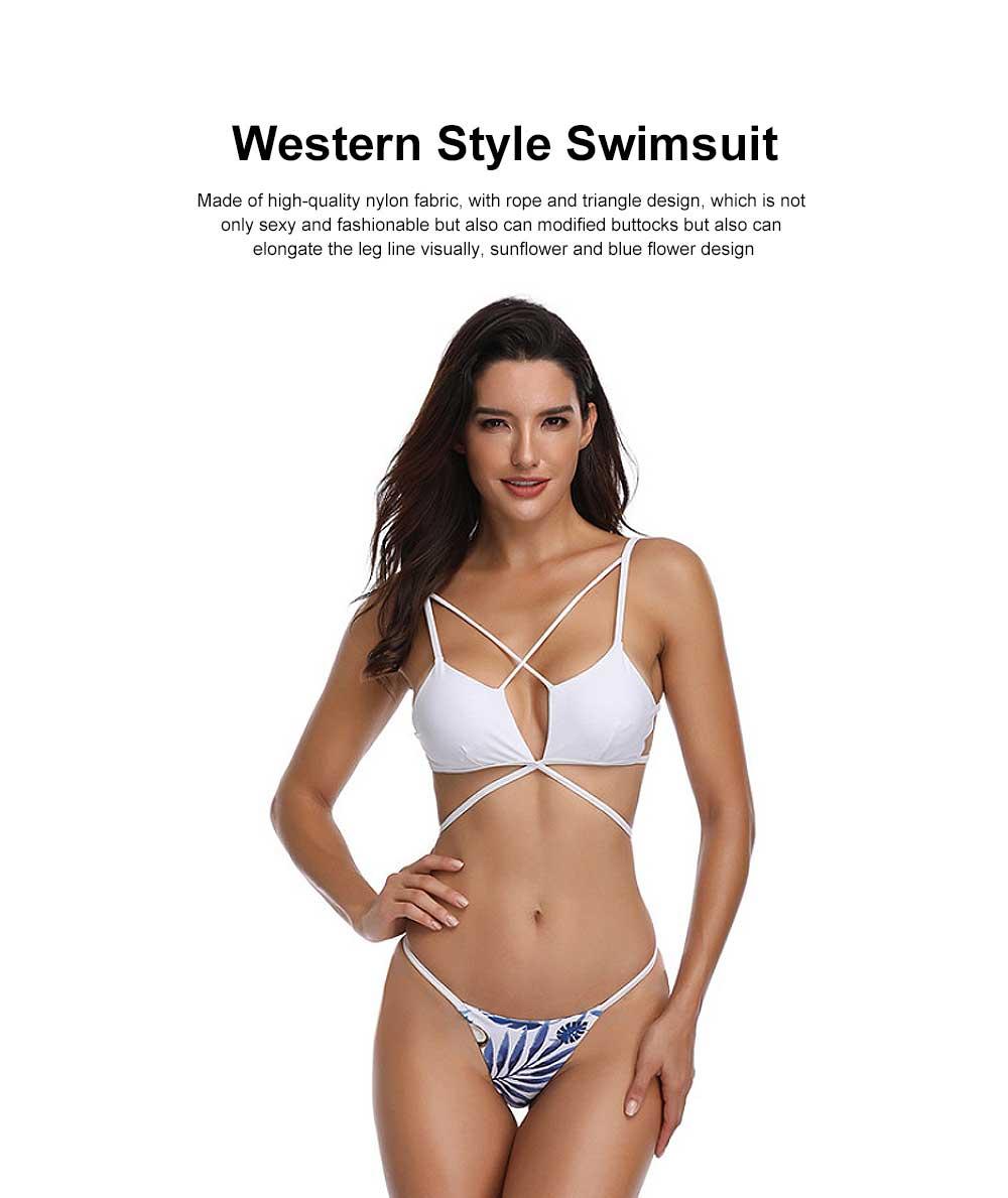 Triangle Bikinis Swimwear, Western Style Women Swimsuit with Environment Friendly Nylon Fabric 0