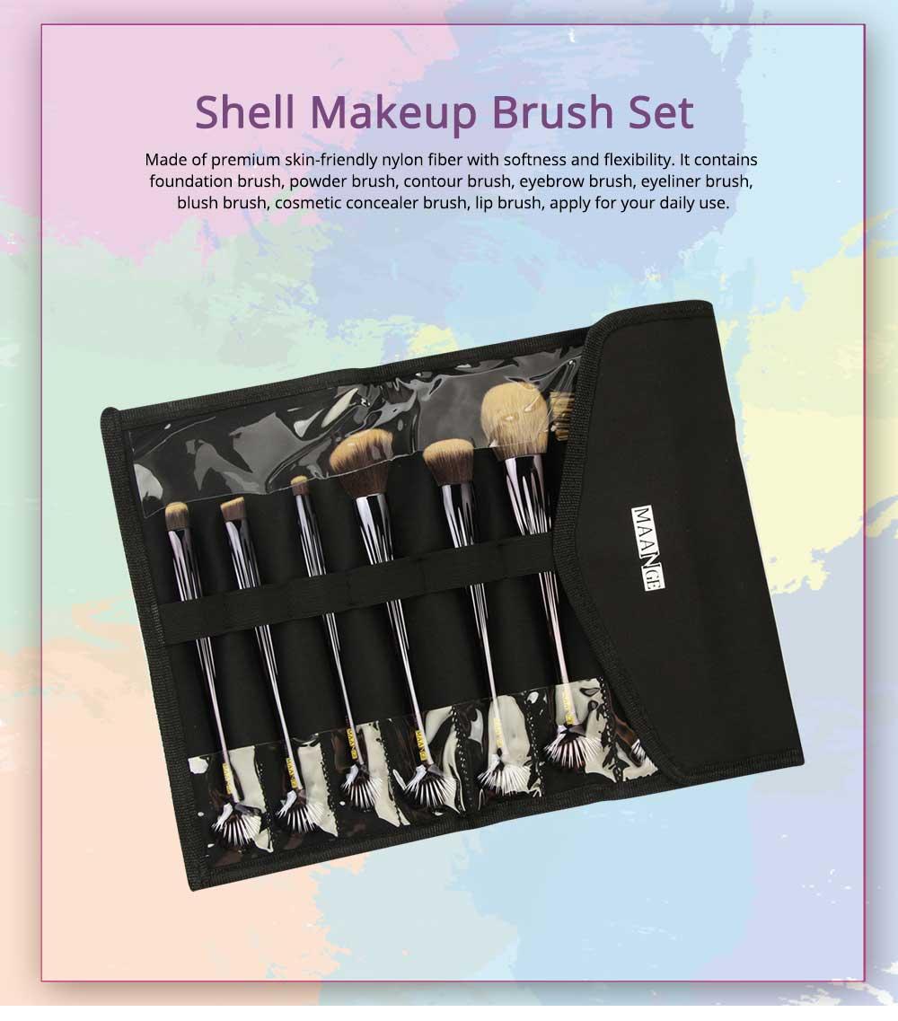 Shell Makeup Brush Set 10 Pieces, Make Up Foundation Eyebrow Eyeliner Blush Cosmetic Concealer Brushes with Nylon Crease Kit 0