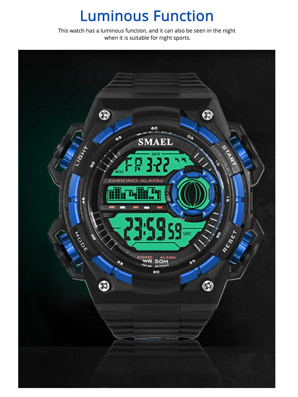 Outdoor Sports Watch, Waterproof Shockproof Stainless Steel Single Display Electronic Watches for Student Boy Men 2