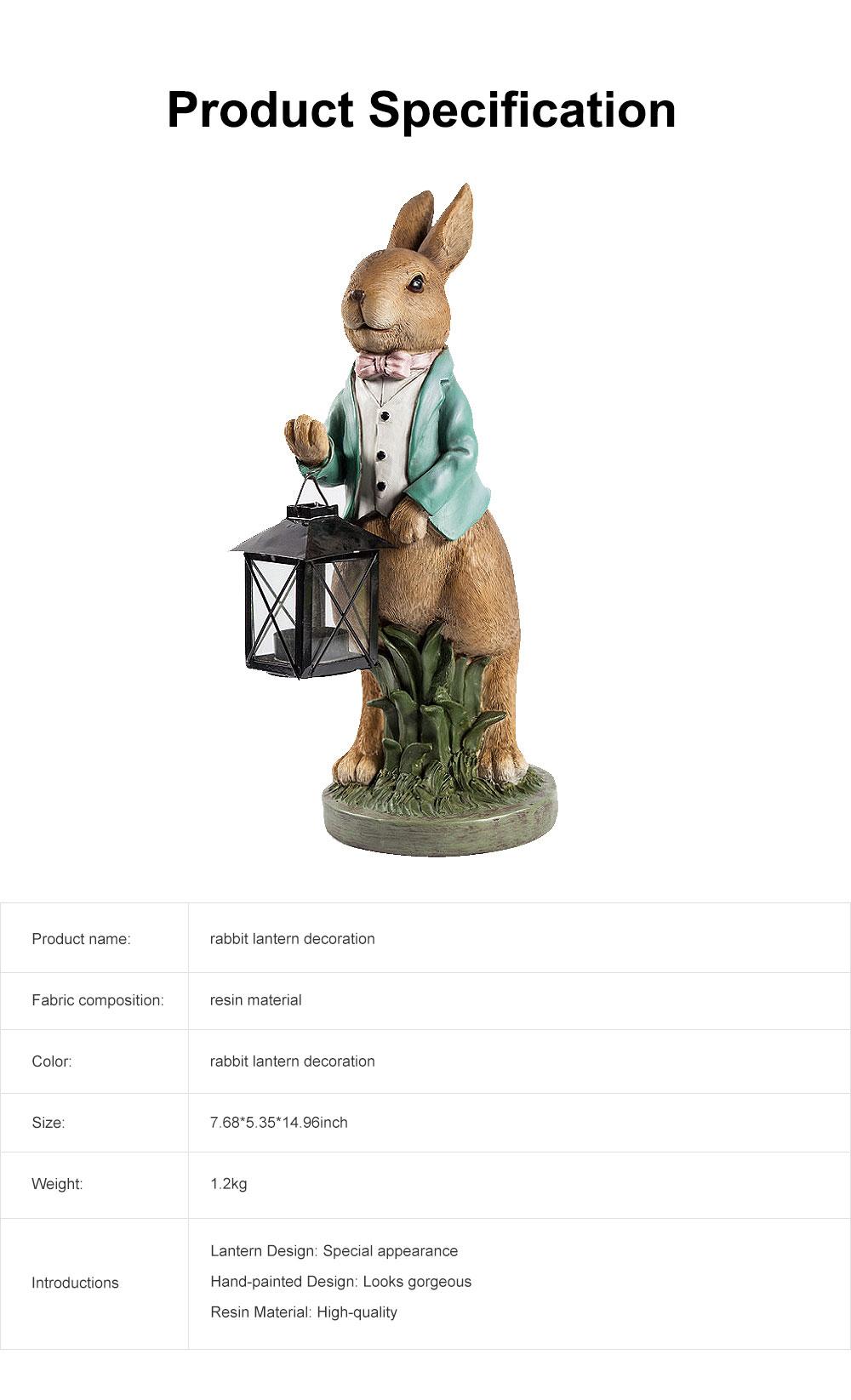 Hand-painted Easter Bunny Lantern, Resin Boy Rabbit Lantern 6