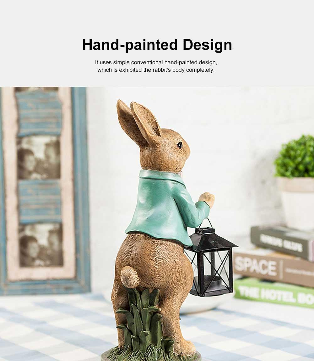 Hand-painted Easter Bunny Lantern, Resin Boy Rabbit Lantern 5