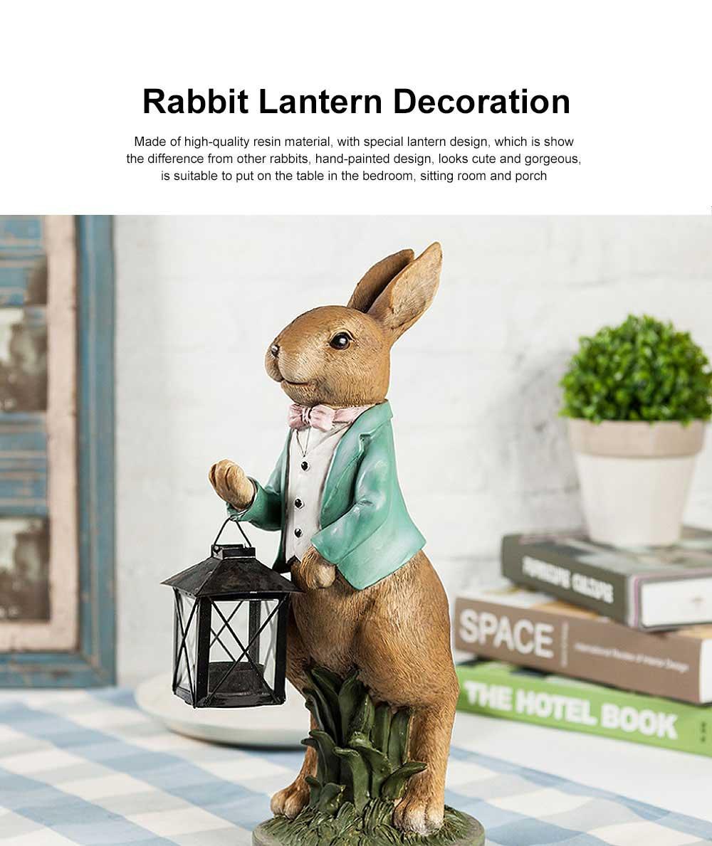 Hand-painted Easter Bunny Lantern, Resin Boy Rabbit Lantern 0