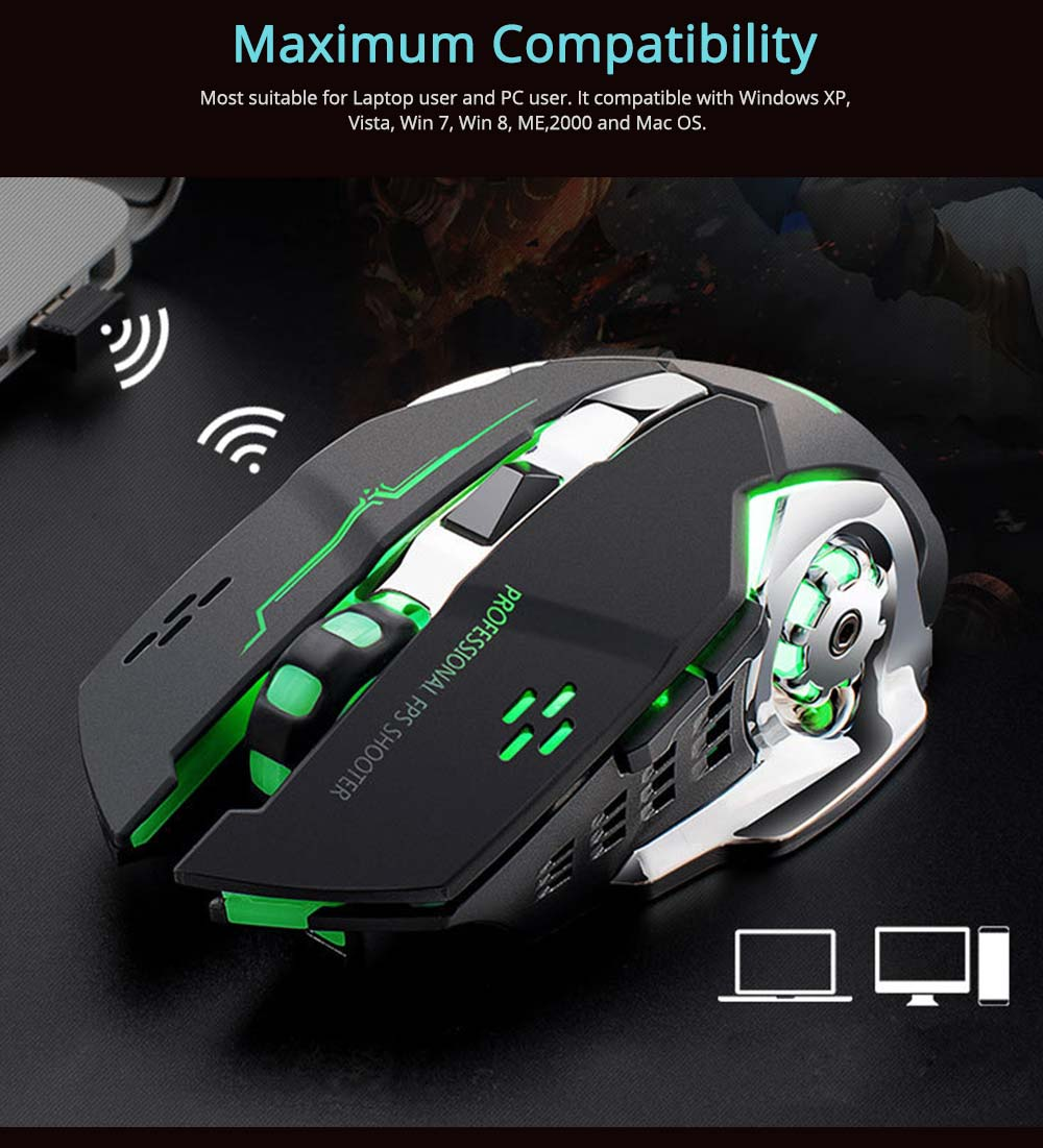 X8 Rechargeable Wireless Gaming Mouse Mice, Silent Click Cordless Mouse with 6 Smart Buttons, 2.4GHZ 4