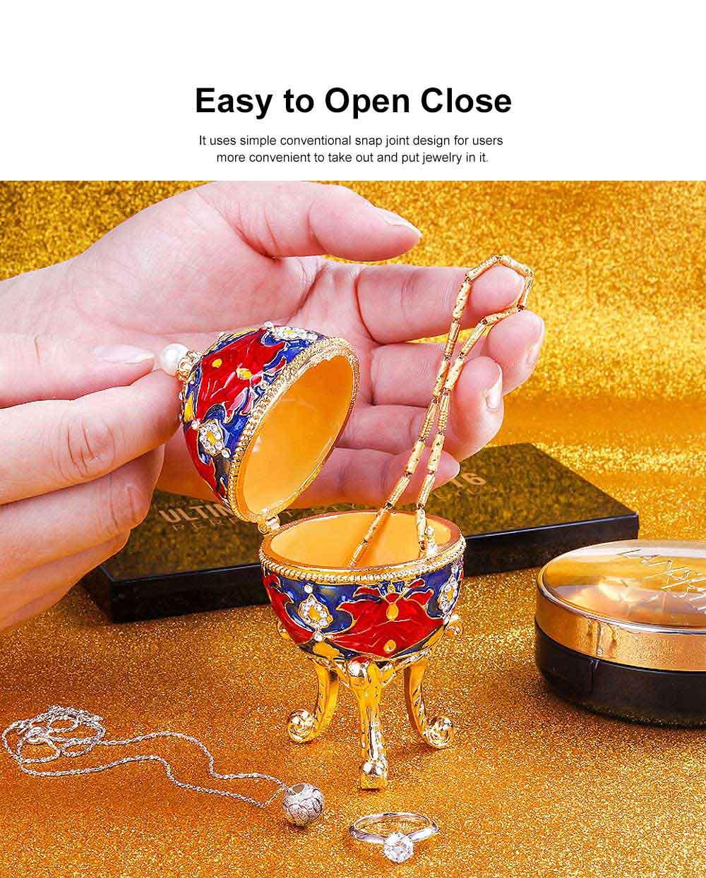 European Egg Shape Jewelry Box, Luxuriant Colored Enamel Trinket Keepsake Storage Box Collection Holder 4