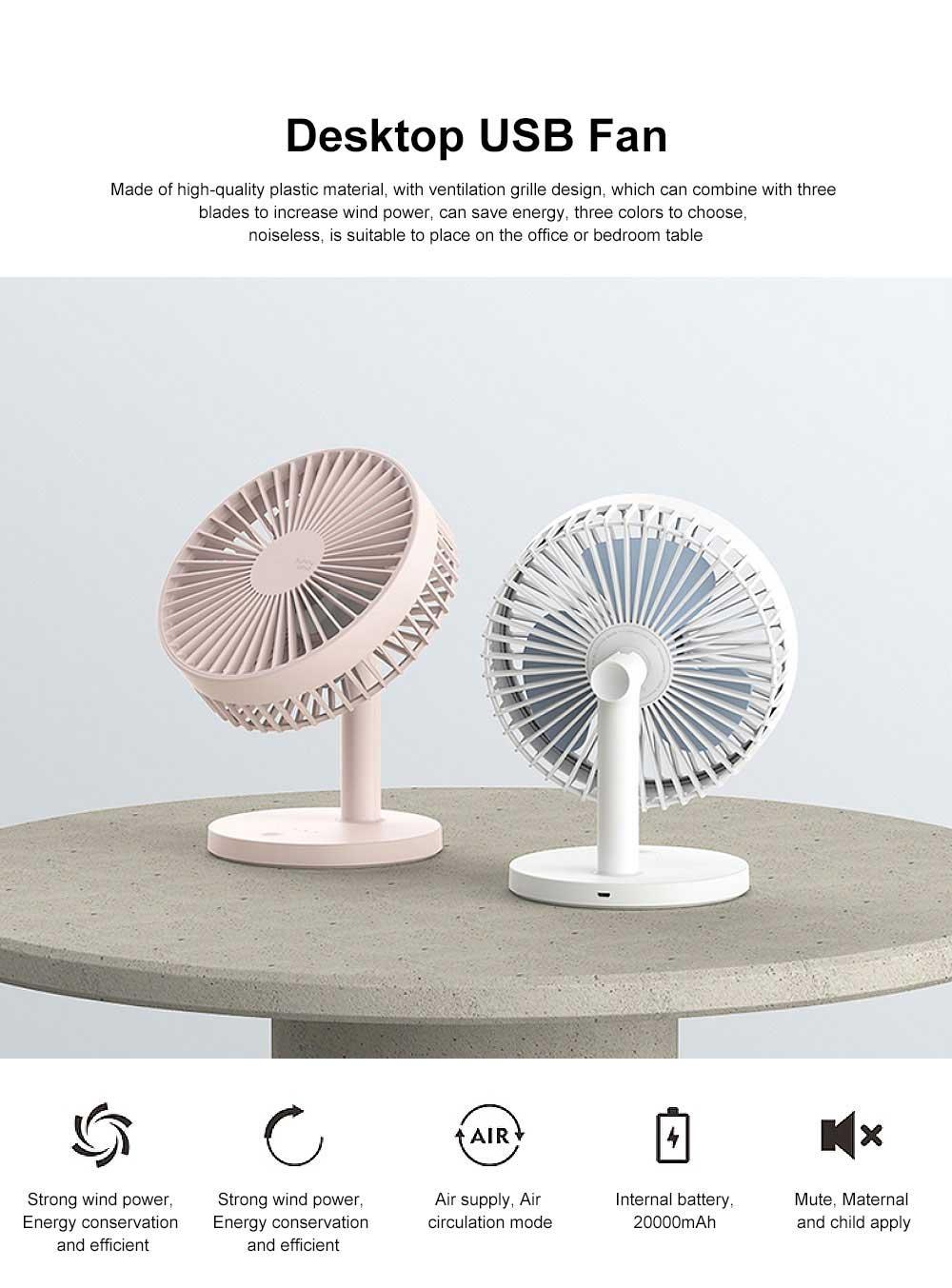 Mini Plastic USB Fan 3 Blades, Portable Desktop Cooling Silent Fan 0