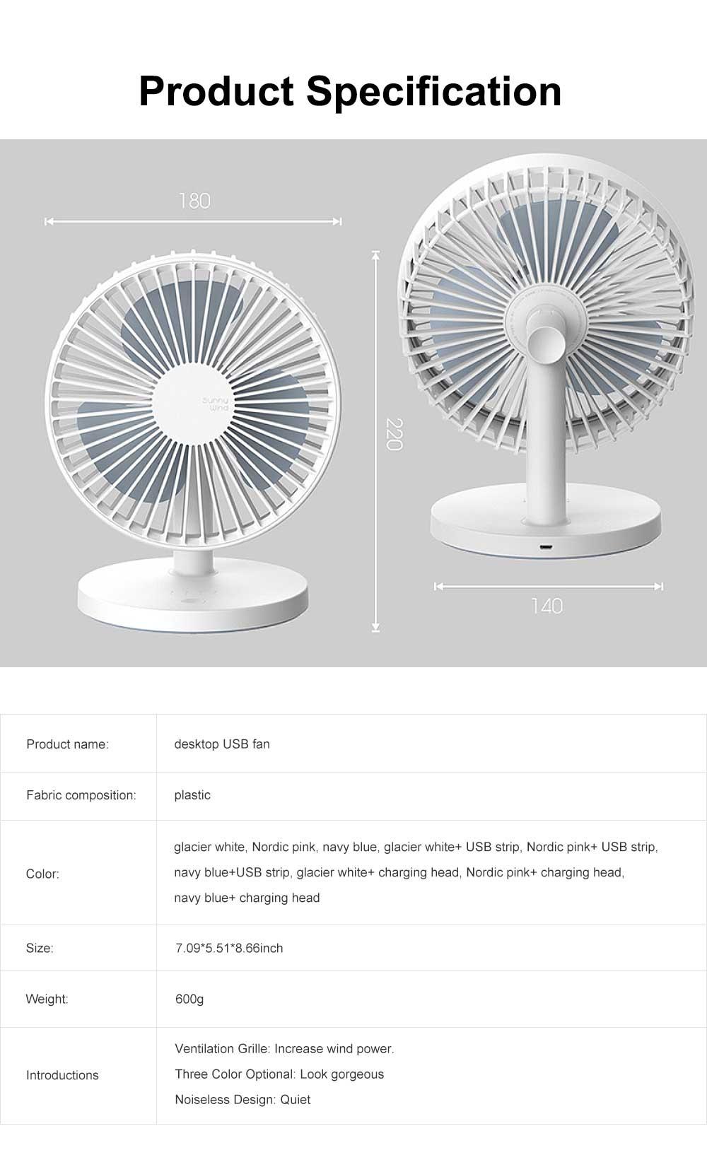Mini Plastic USB Fan 3 Blades, Portable Desktop Cooling Silent Fan 6