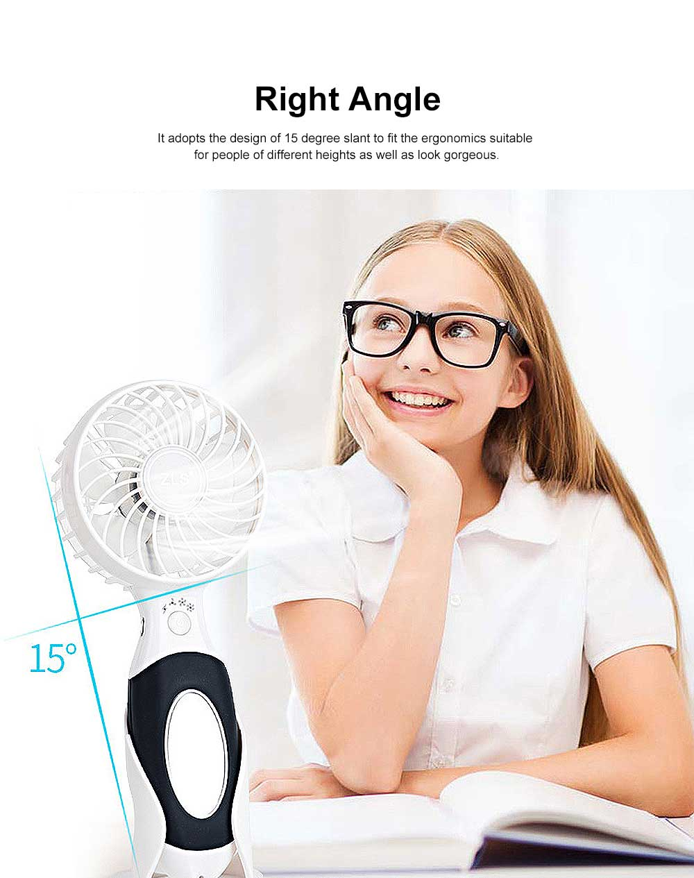 Hand-held Electric Fan, with High-quality Lithium-ion Battery and Skin-friendly Silicone Handle 2