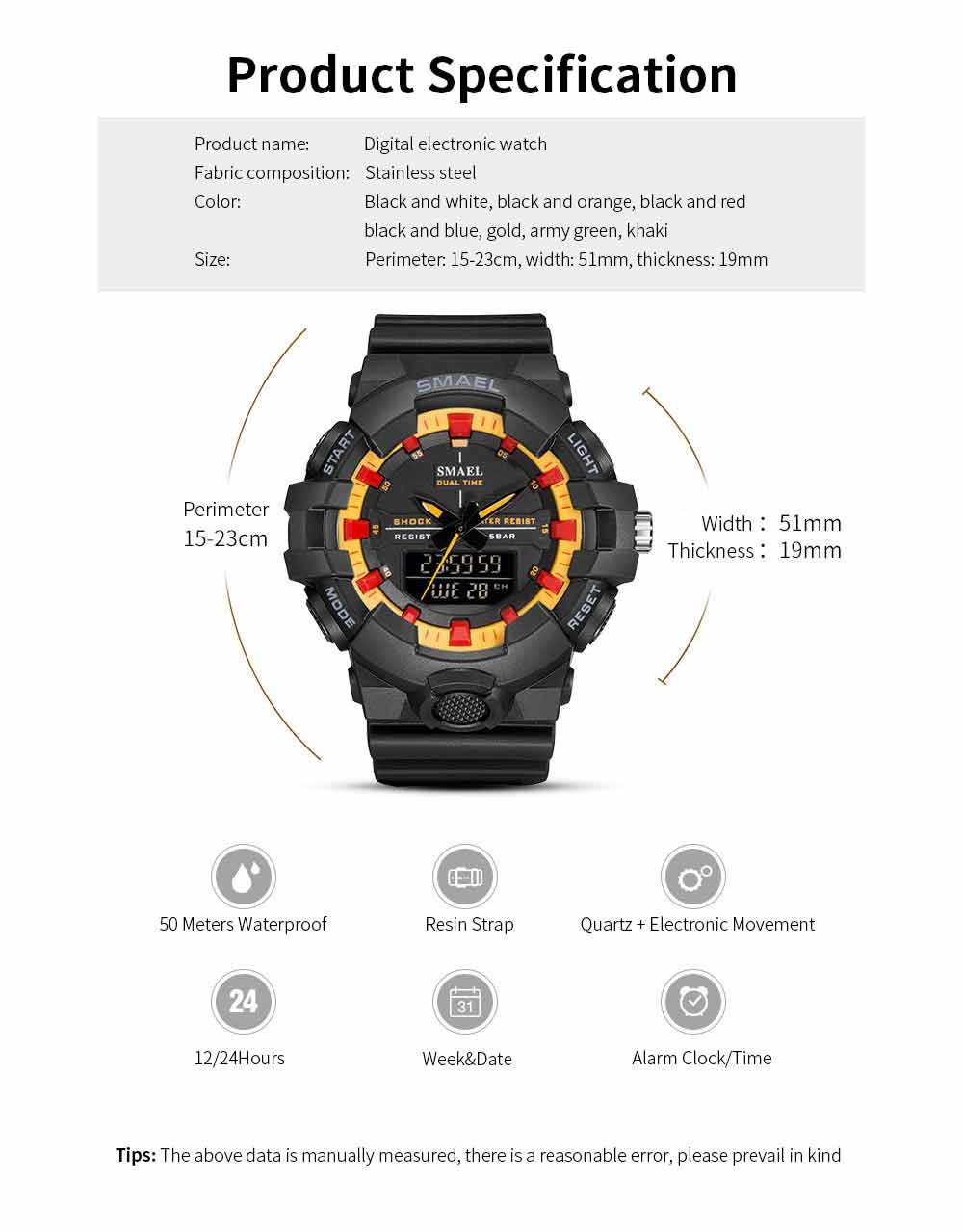 Outdoor Electronic Sports Watch, Multi-function Water Resistant Digital Quartz Wrist Watch 6