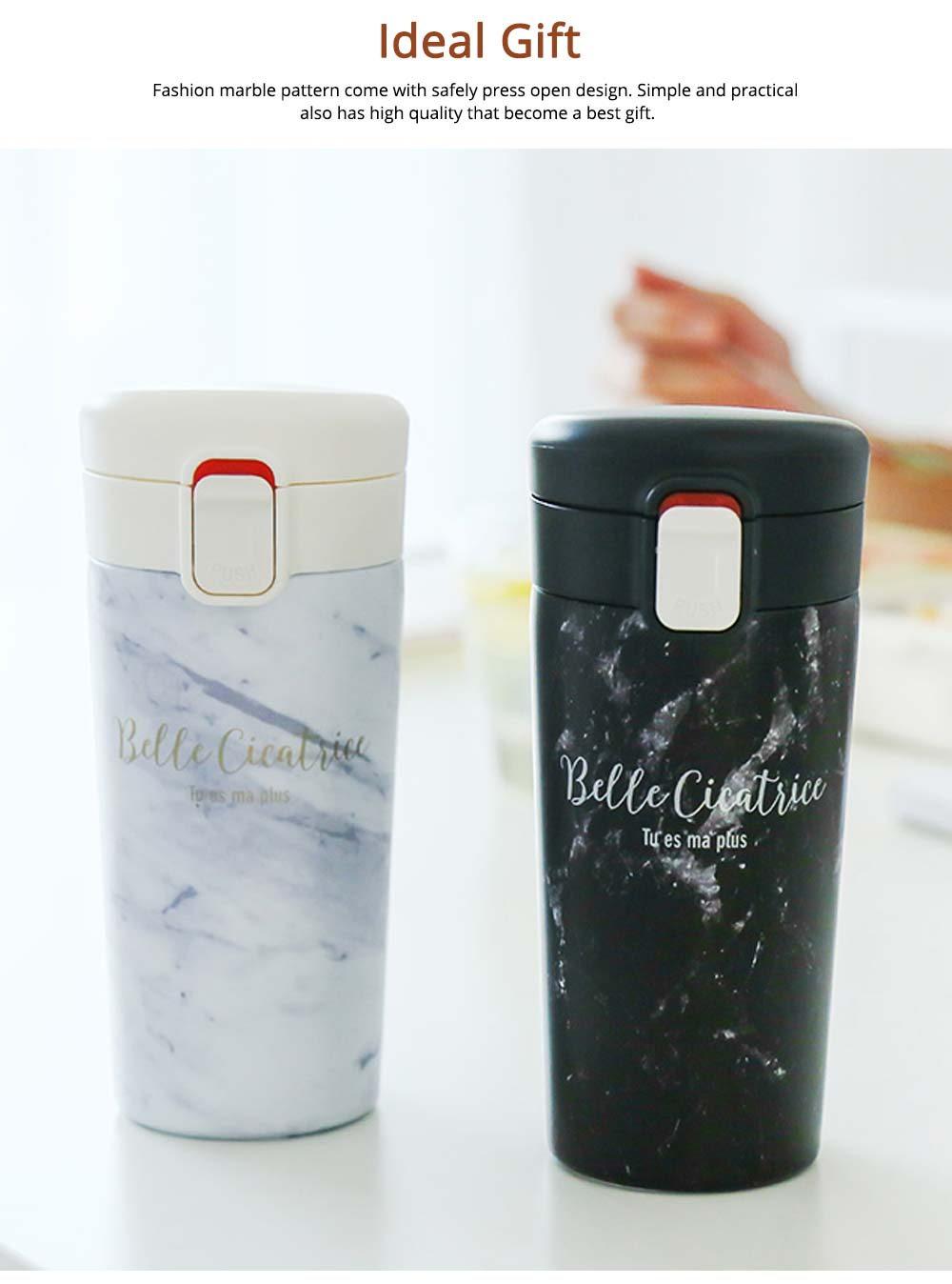 Fashion Marble Thermos Cup, Vacuum Insulated Stainless Steel Water Bottle, Sports Coffee Travel Mug 6