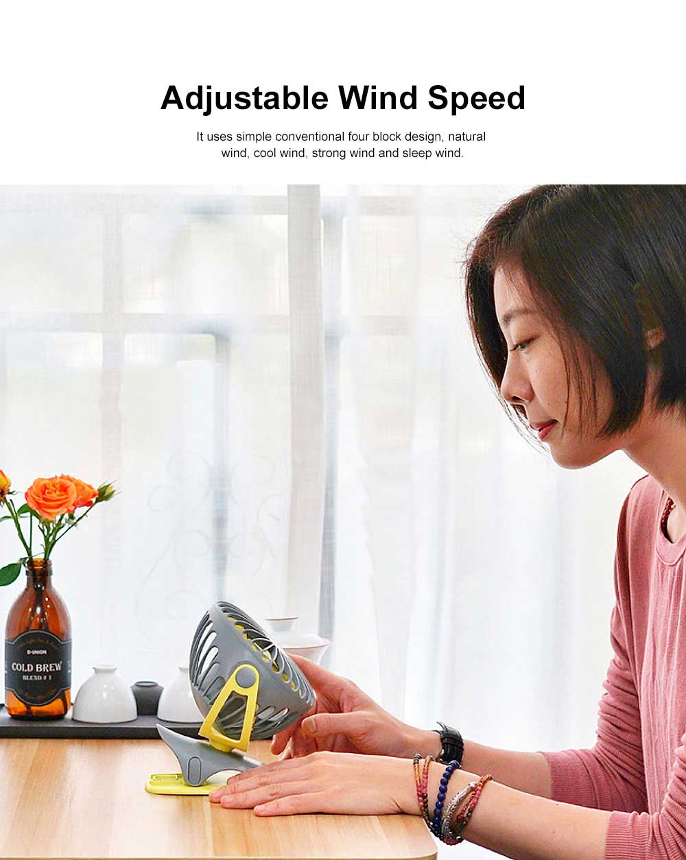 USB Rechargeable Desk Fan, Portable USB Fan with ABS and Silicone Material, Convenient Clip Design 4