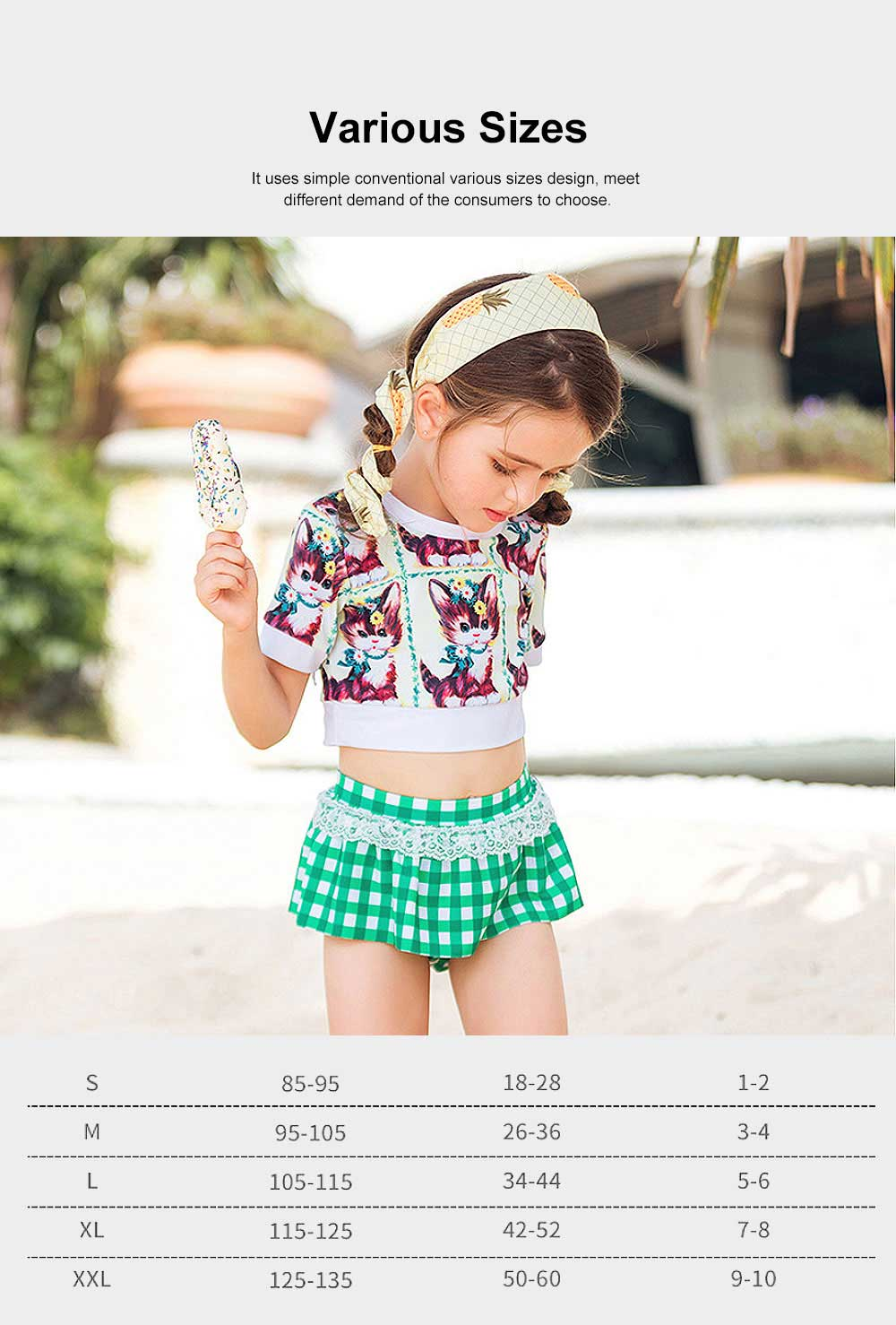 Printing Top With High Waist Bikini Set for Little Girl, Children's Swimsuit With Comfortable Nylon Fabric, Lace-Detailed 5