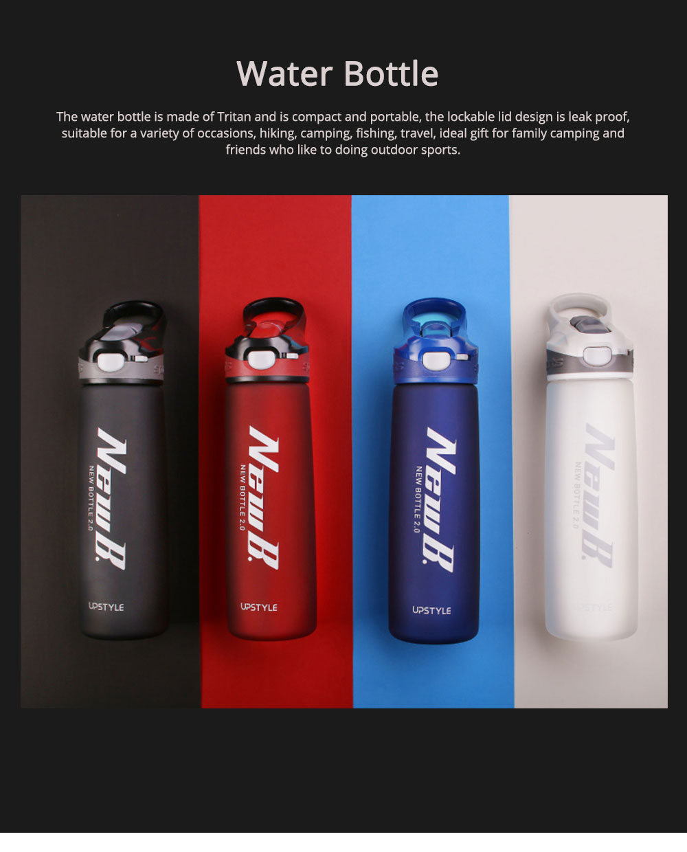 Water Bottle With Straw and Handle, Plastic Sport Water Bottle for Man Woman, 600ml, 750ml 0