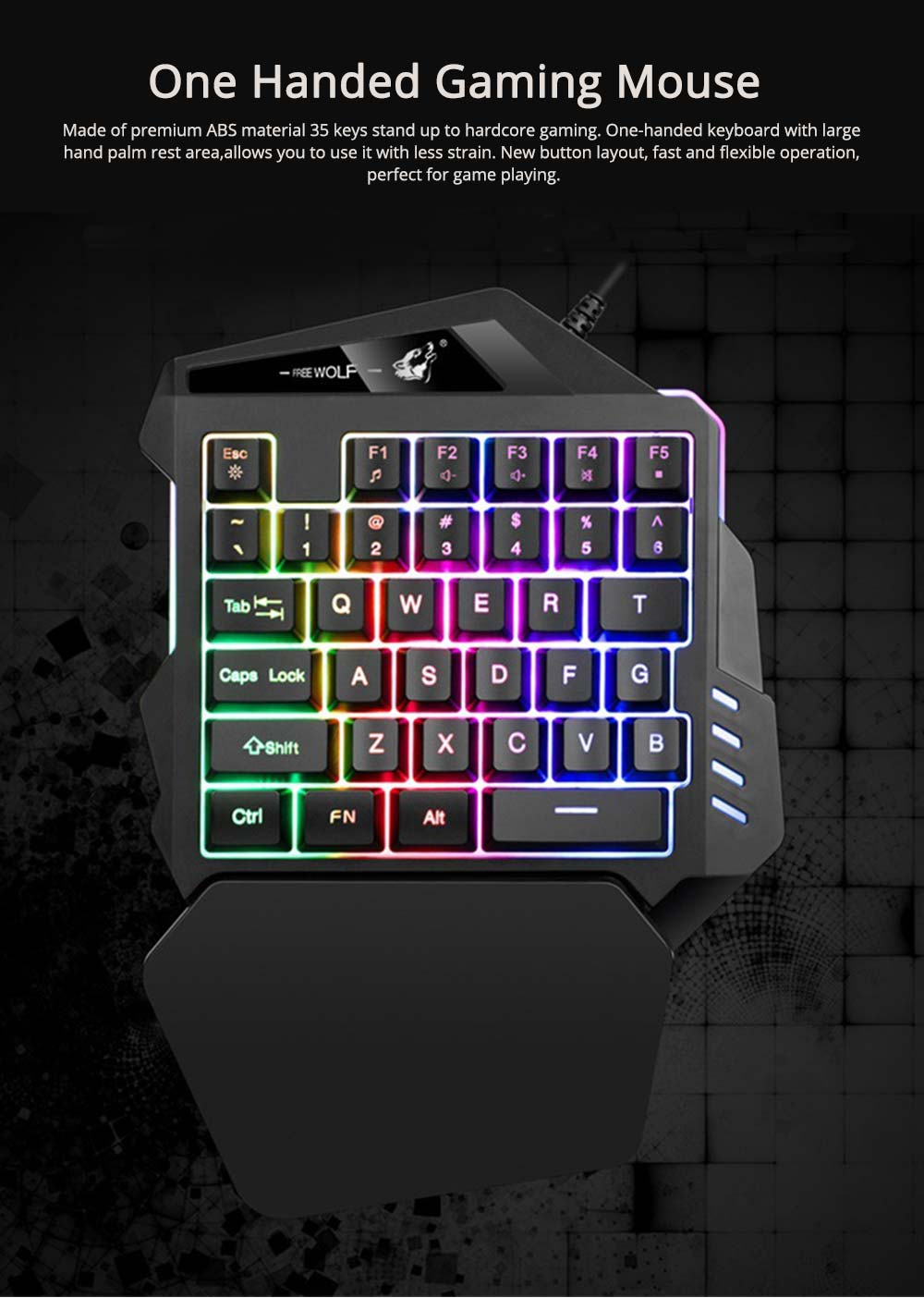 One-Handed Gaming Keyboard, K13 Wired 35 Keys LED Backlit USB Ergonomic Single Hand Keypad 0