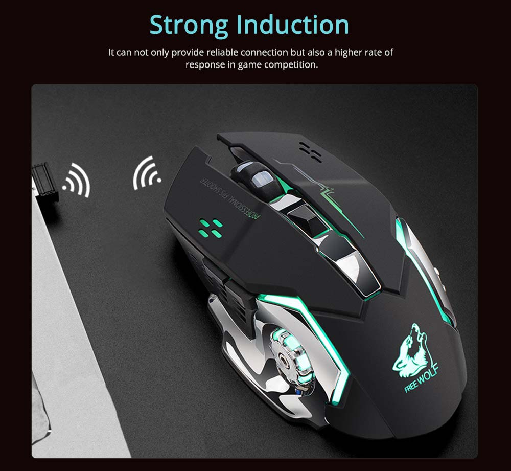 X8 Rechargeable Wireless Gaming Mouse Mice, Silent Click Cordless Mouse with 6 Smart Buttons, 2.4GHZ 1