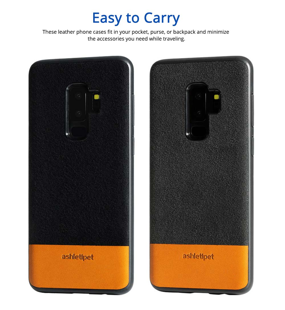 Samsung Genuine Leather Case, Creative Color Matching Elegant Phone Protective Case for Samsung note8, S7 edge, S9 2