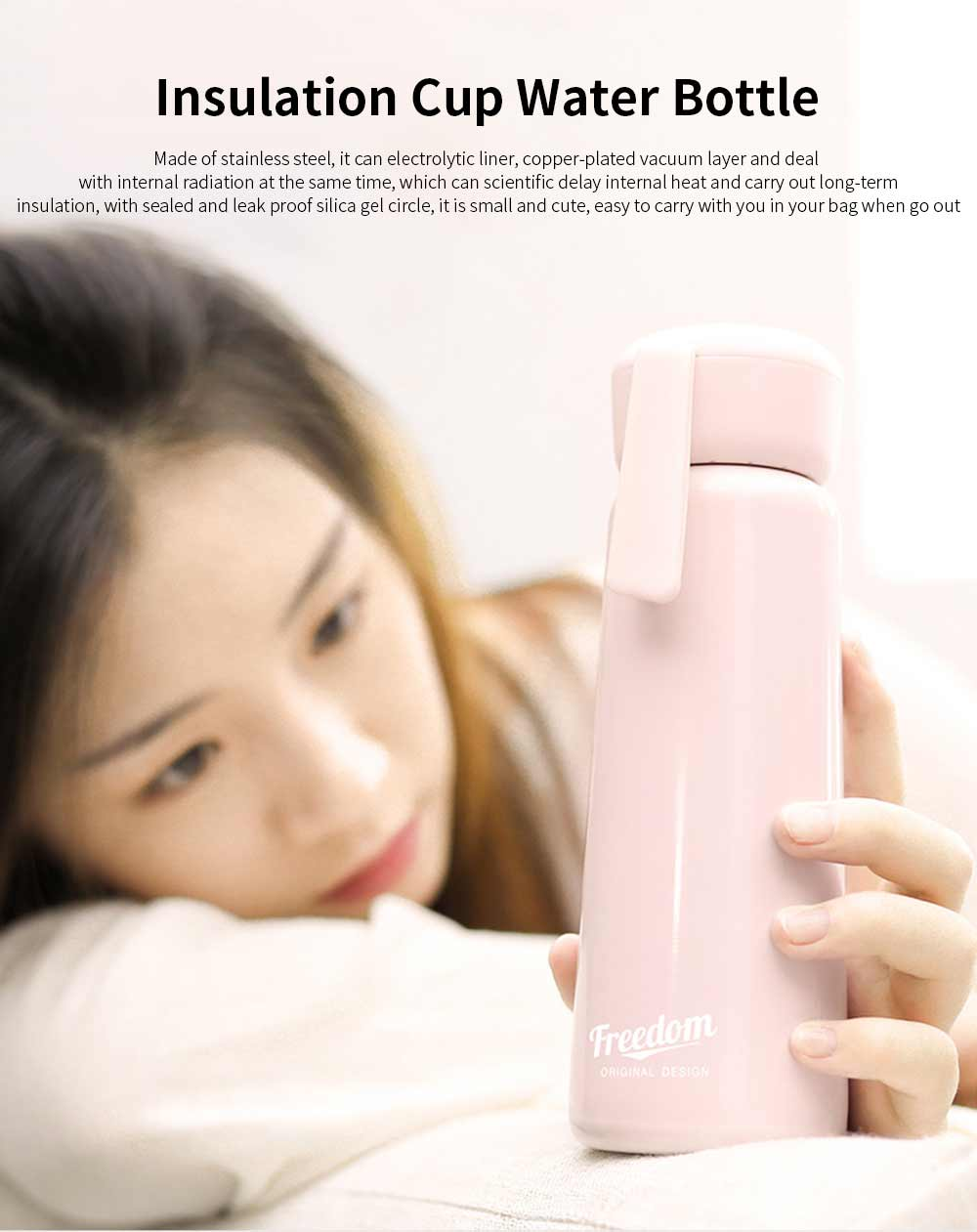 Stainless Steel Thermos Water Bottle Vacuum Insulation Cup, Suitable for Female Students, with Portable Rope 0