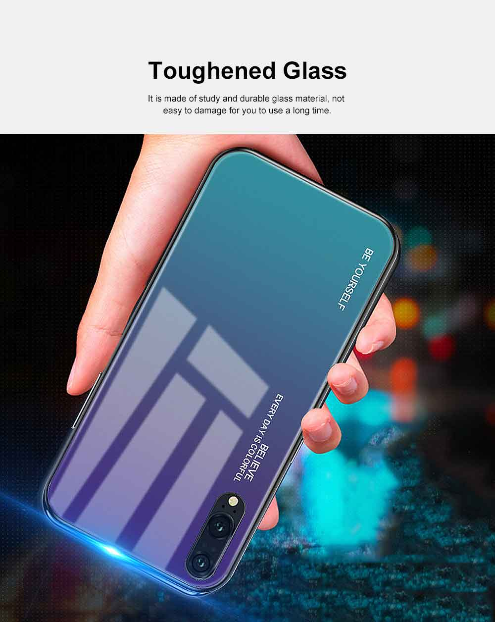 Gradient Phone Case for Huawei Nova 4, P20 Pro, P20 Lite, Explosion-proof and Scratch-resistant Case Cover with Toughened Glass and High-quality TPU 5