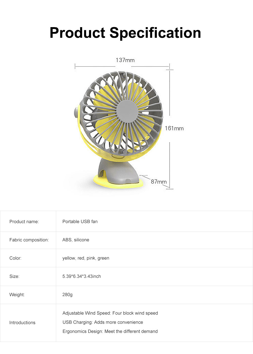 USB Rechargeable Desk Fan, Portable USB Fan with ABS and Silicone Material, Convenient Clip Design 6