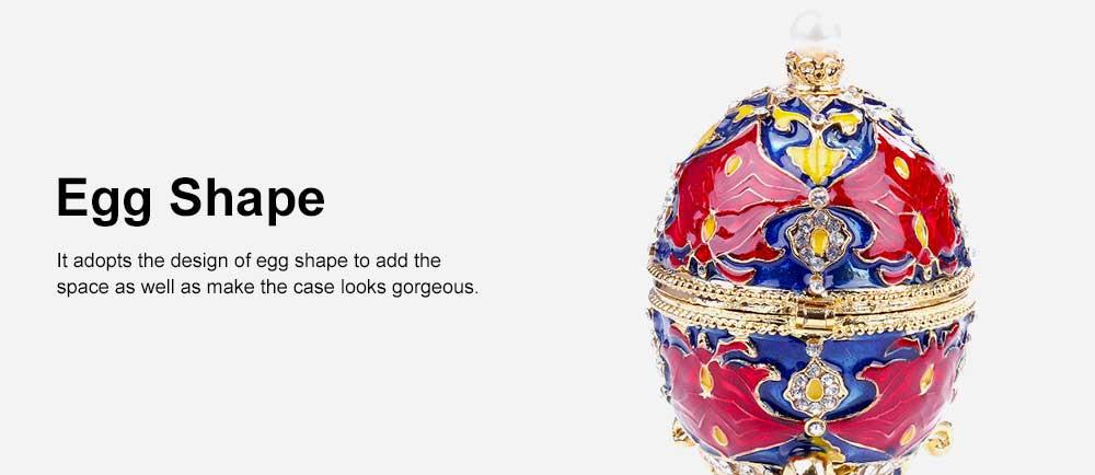 European Egg Shape Jewelry Box, Luxuriant Colored Enamel Trinket Keepsake Storage Box Collection Holder 1