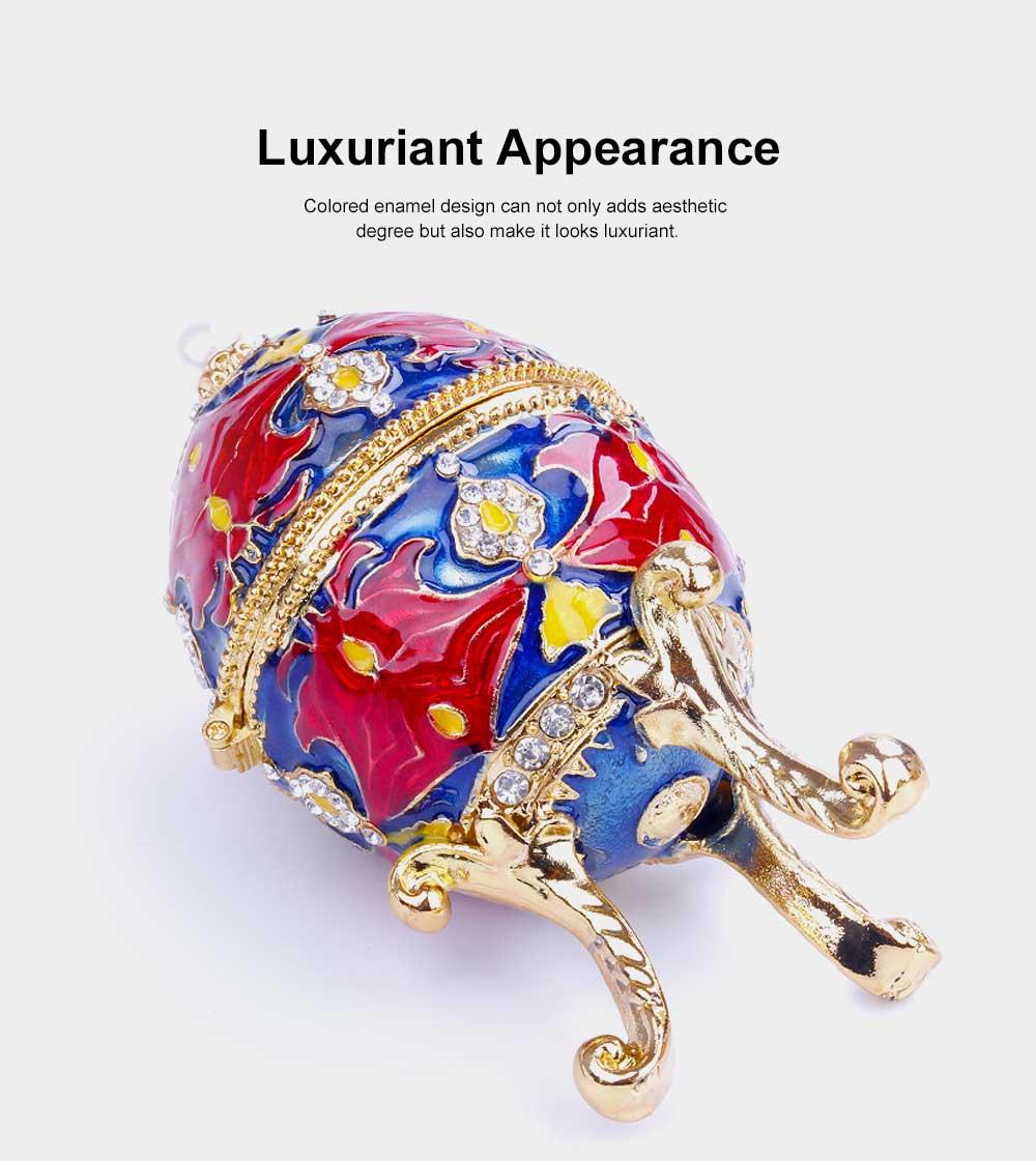 European Egg Shape Jewelry Box, Luxuriant Colored Enamel Trinket Keepsake Storage Box Collection Holder 3