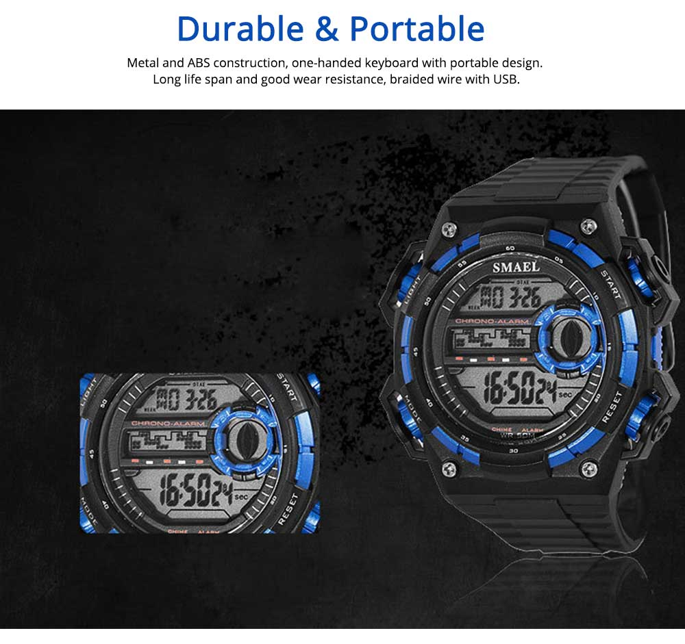 Outdoor Sports Watch, Waterproof Shockproof Stainless Steel Single Display Electronic Watches for Student Boy Men 3