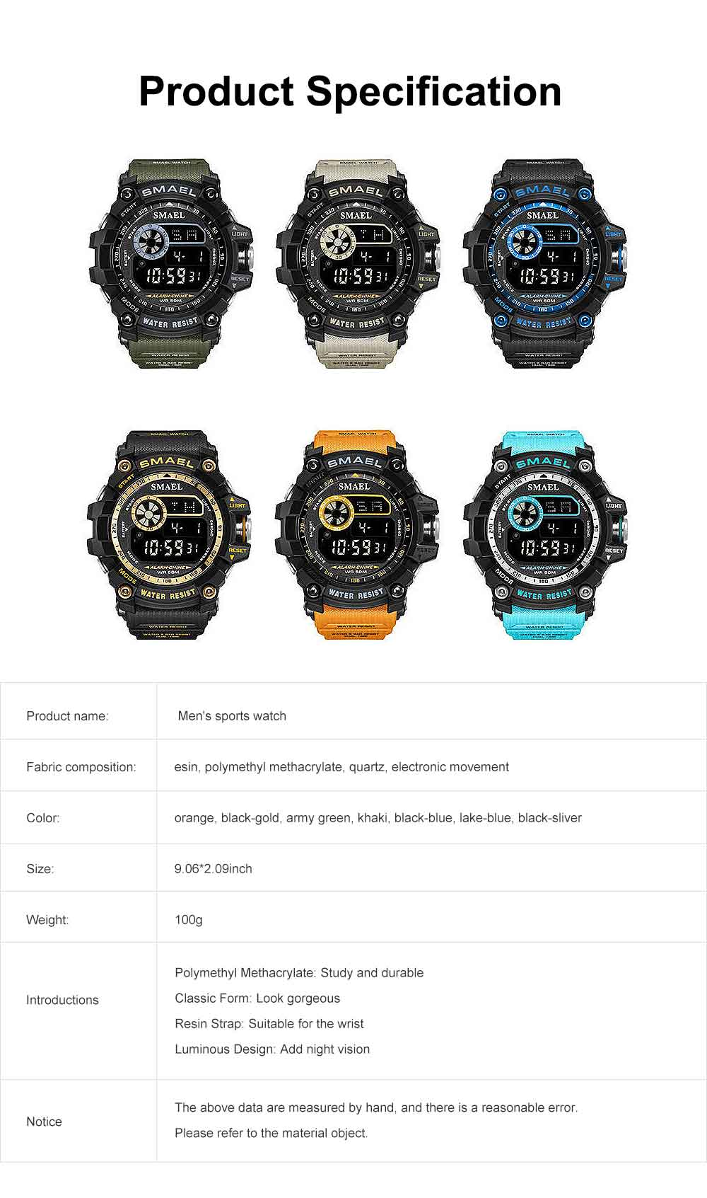 Men's Digital Sports Watch, with Resin, Polymethyl Methacrylate, Quartz, Electronic Movement 7