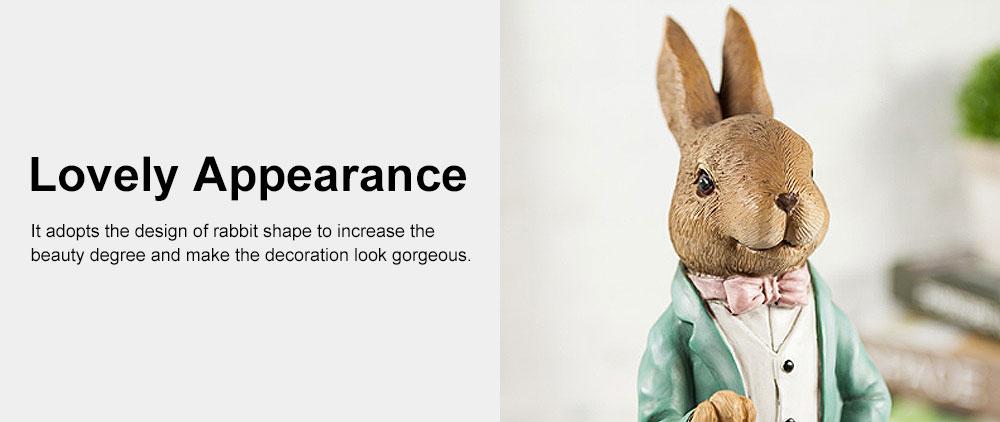 Hand-painted Easter Bunny Lantern, Resin Boy Rabbit Lantern 1