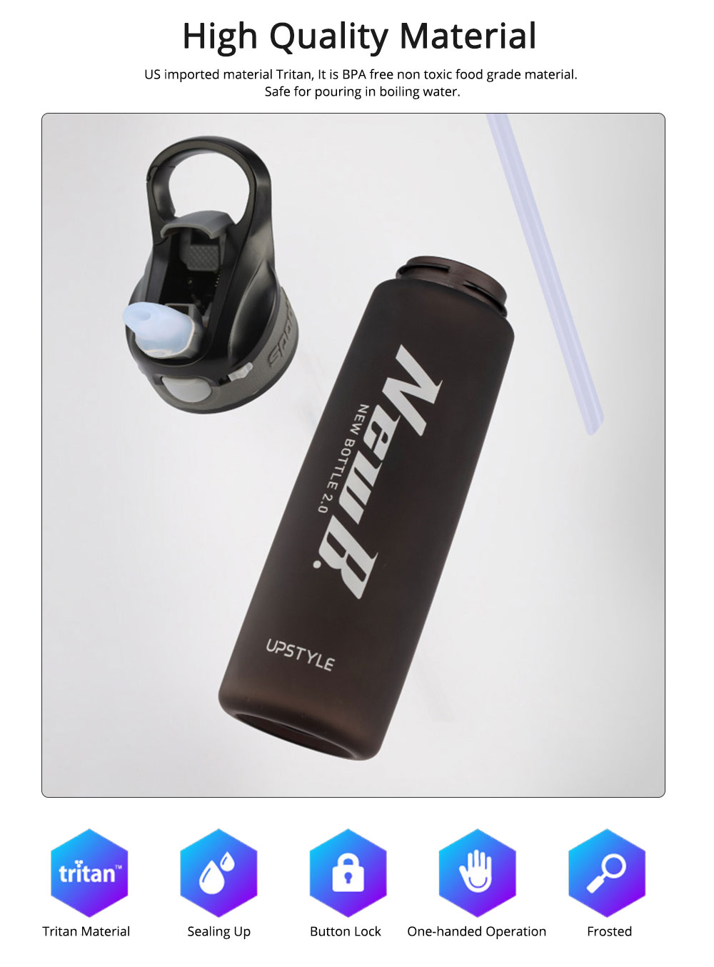 Water Bottle With Straw and Handle, Plastic Sport Water Bottle for Man Woman, 600ml, 750ml 1