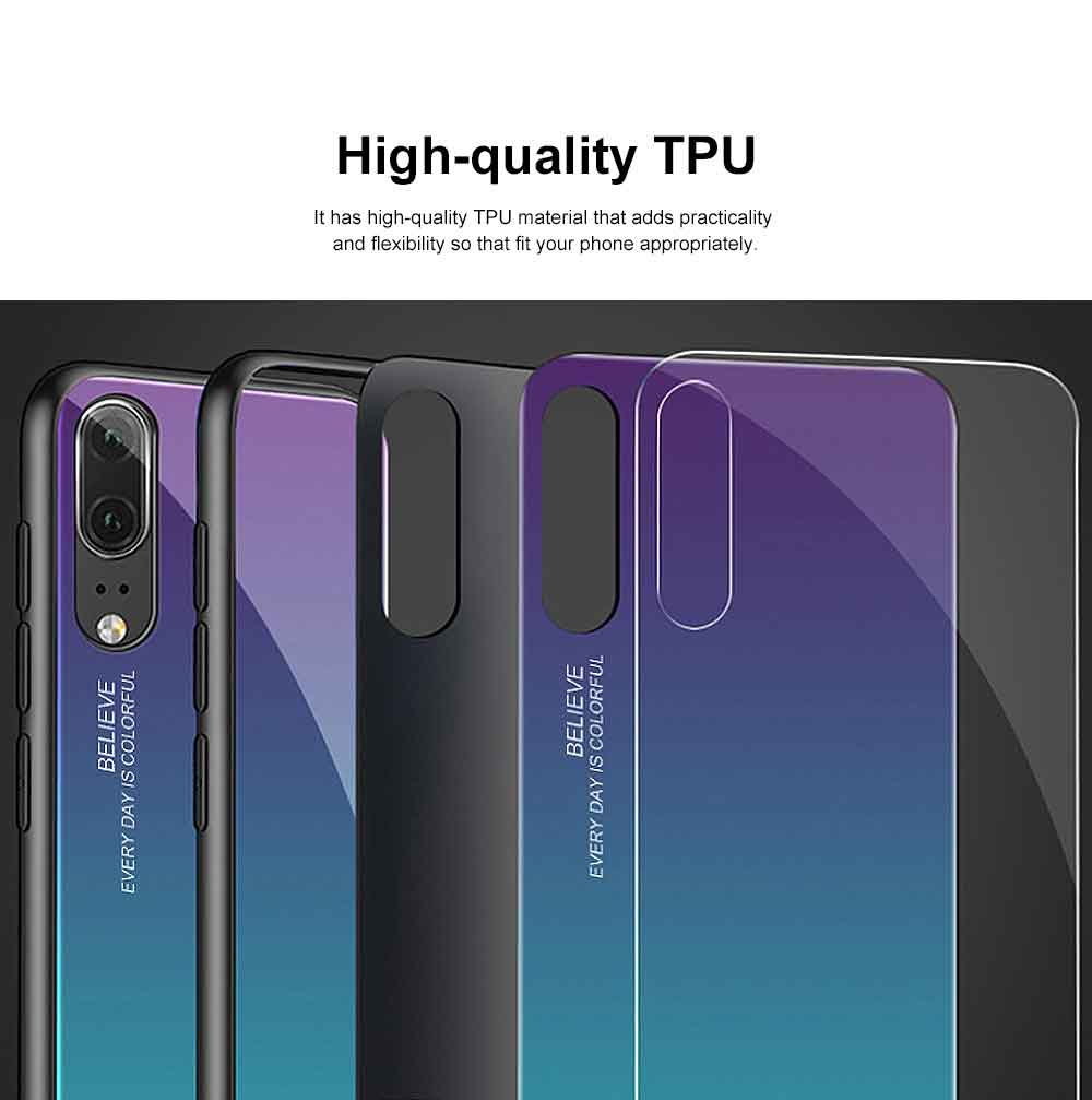 Gradient Phone Case for Huawei Nova 4, P20 Pro, P20 Lite, Explosion-proof and Scratch-resistant Case Cover with Toughened Glass and High-quality TPU 4