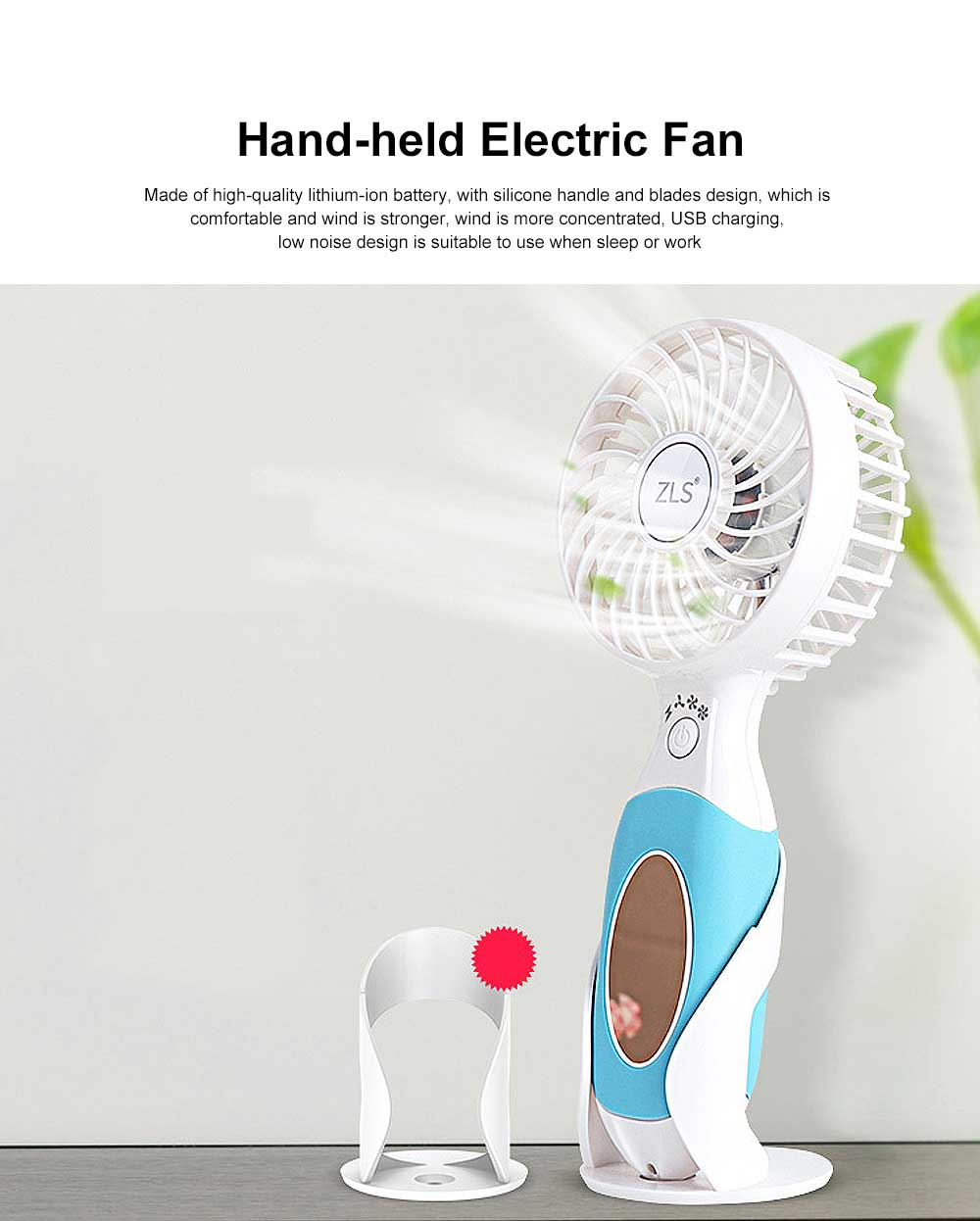 Hand-held Electric Fan, with High-quality Lithium-ion Battery and Skin-friendly Silicone Handle 0