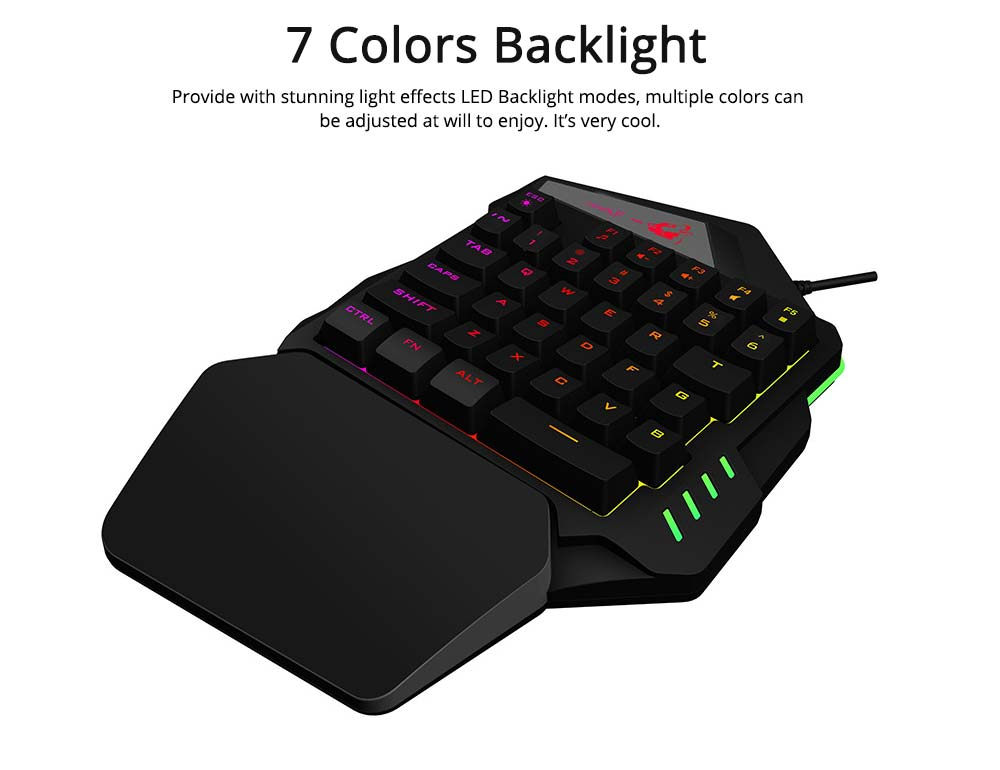 One-Handed Gaming Keyboard, K13 Wired 35 Keys LED Backlit USB Ergonomic Single Hand Keypad 5
