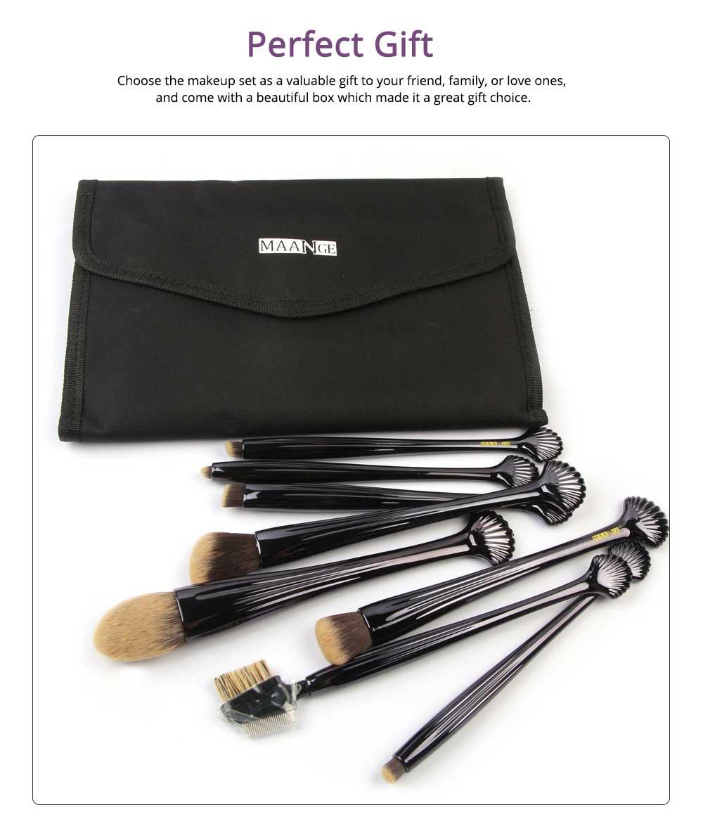 Shell Makeup Brush Set 10 Pieces, Make Up Foundation Eyebrow Eyeliner Blush Cosmetic Concealer Brushes with Nylon Crease Kit 4