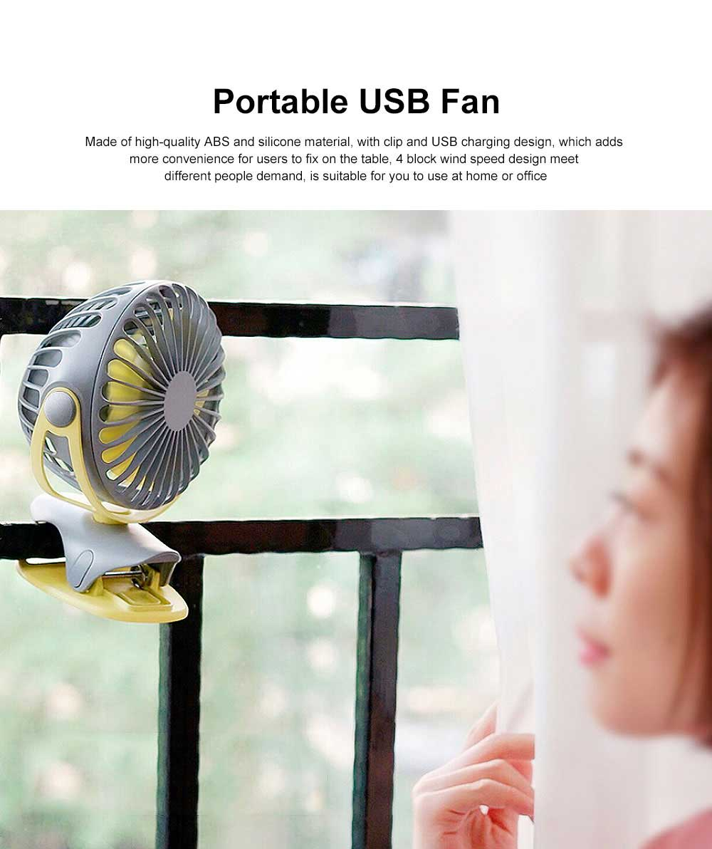 USB Rechargeable Desk Fan, Portable USB Fan with ABS and Silicone Material, Convenient Clip Design 0