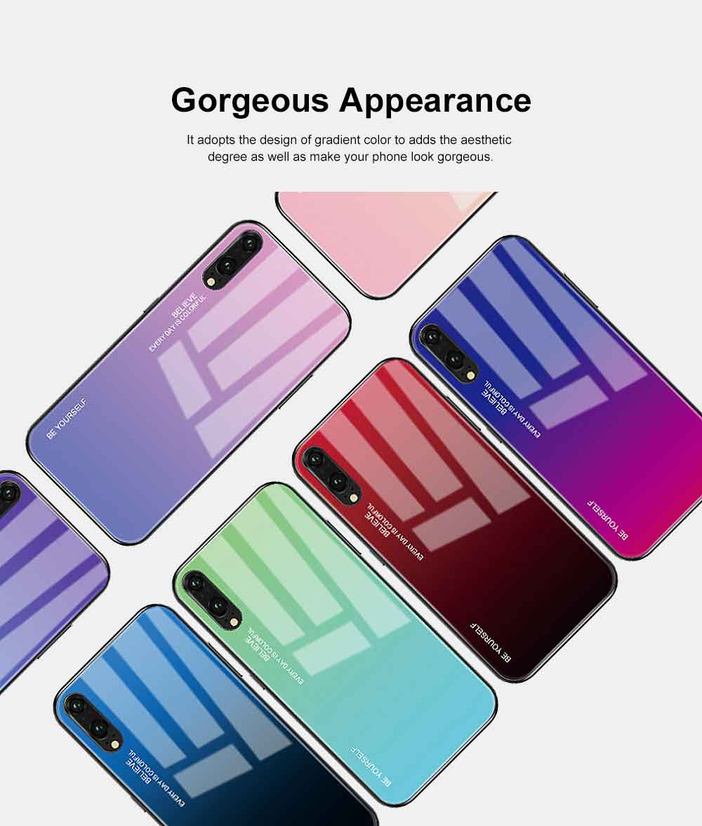 Gradient Phone Case for Huawei Nova 4, P20 Pro, P20 Lite, Explosion-proof and Scratch-resistant Case Cover with Toughened Glass and High-quality TPU 1